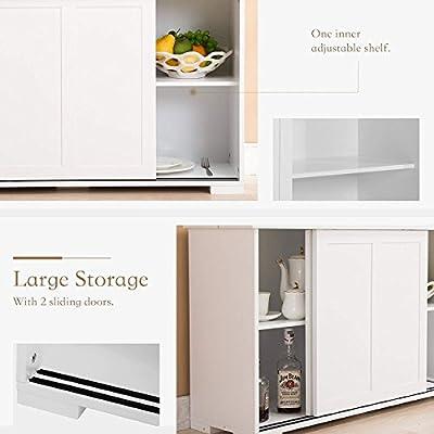 Mecor Sideboards Storage Cabinet, White Kitchen Buffet Cabinet Server Table 2 Sliding Doors/1 Shelf Dining Room Furniture