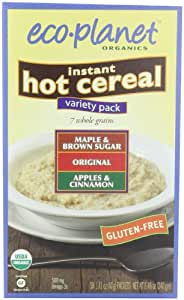 eco-planet Instant Hot Cereal,  Variety Pack (Maple and Brown Sugar, Original and Apples and Cinnamon), 8.46-Ounce Boxes (Pack of 3)