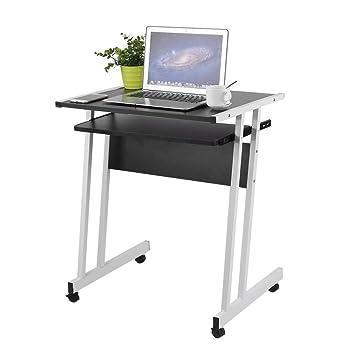 Homgrace Escritorio para Computer Escritorio de Ordenador Mesa con PC con Teclado Separable y 4 Ruedas