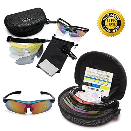 Polarized-Sports-Sunglasses-UV-protection-Lenes-for-Driving-Cycling-Running-Fishing-Golf-Baseball-Unbreakable-Unisex-Night-Vision-Glasses-with-5-Interchangeable-for-Men-Women