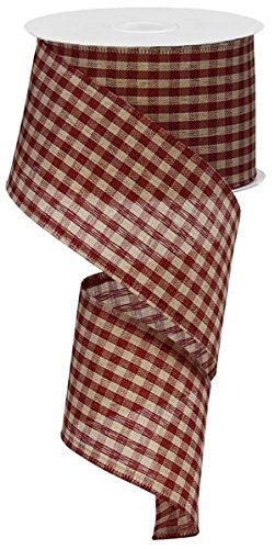 Primitive Gingham Check Wired Edge Ribbon, 10 Yards (Red, Tan, 2.5