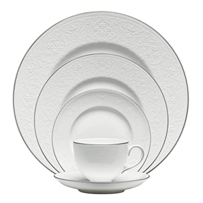 Wedgwood English Lace 5-Piece Place Setting - Dinner plate, salad plate, bread and butter plate, teacup, tea saucer Fine bone china English lace - kitchen-tabletop, kitchen-dining-room, dinnerware-sets - 51OGVNbjm L. SS400  -