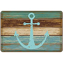 "Bathroom Rug, Uphome Vintage Retro Nautical Anchor Flannel Microfiber Foam Bath Mat - Turquoise and Brown Non-slip Soft Absorbent Bathroom Mat Kitchen Floor Carpet (16""W x 24""L)"