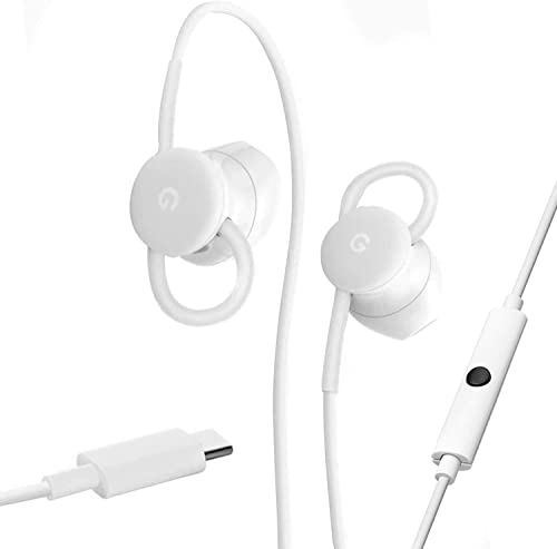 Google USB-C Wired Digital Earbud Headset for Pixel Phones – White