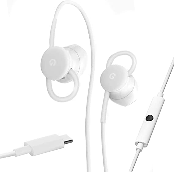 Google USB-C Wired Digital Earbud Headset for Pixel Phones - White