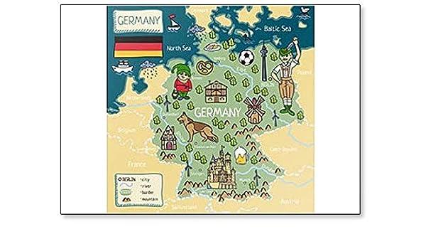 Cartoon Map Of Germany.Amazon Com Cartoon Map Of Germany Classic Fridge Magnet Kitchen