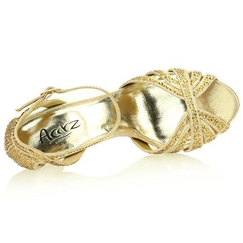 Mujer Señoras Noche Boda Party Alto tacón Stiletto Diamante Peep Toe Nupcial Sandalia Zapatos tamaño (Oro, Plata, Estaño) Oro