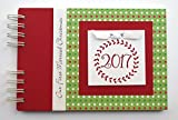 5x7 hard custom cover photo book - Christmas Photo Album by Charmbooks | Personalized Brag Book | Red Green White Dots with Wreath | Choose Your Design
