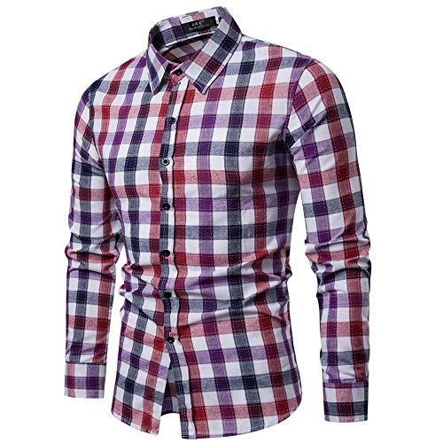 WOCACHI Final Clear Out Mens Plaid Button Shirt Checkered Lattice Long Sleeve Fit Bottoming Tops Black Friday Cyber Monday Autumn Winter Long Sleeve Tops Pocket Solid Dress Shirts Down Twill Casual