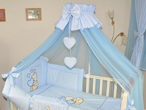 Baby Betthimmel/Fall/Moskitonetz groß 485cm + Universal Klemme Halterung für Babybett Bett-Herz blau kariert