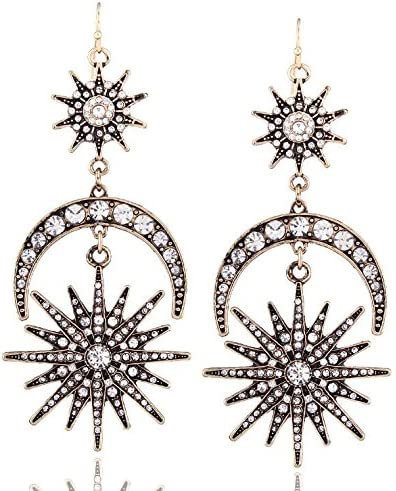 NOBRAND Pendientes De Mujer Grandes Pendientes De Sol Y Luna Pendientes De Mujer Joyas De Diamantes De Imitación Pendientes Vintage Dorados