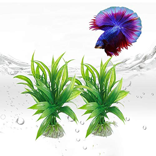 (Wzhe Aquarium and Betta Fish Plants - 8 Pack Premium Decorations Plant with Plastic Soft Leaf, Realistic Looking, Weighted Base and Color Variations (Green 8 pcs))