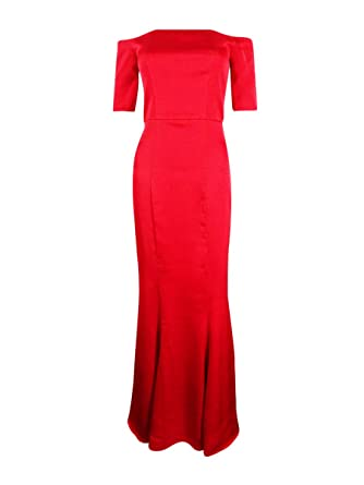 f6ee402fe93 Fame and Partners Womens Satin Off-The-Shoulder Formal Dress Red 2 at Amazon  Women s Clothing store