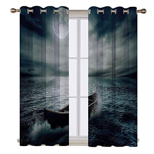 SATVSHOP Blackout Window Curtain- 55W x 72L Inch-Room Darkening Wide Curtains.Fishing Boat Drifting in Ocean Full Moon Dramatic Night Sky Life Hope Concept Dark Blue White.]()
