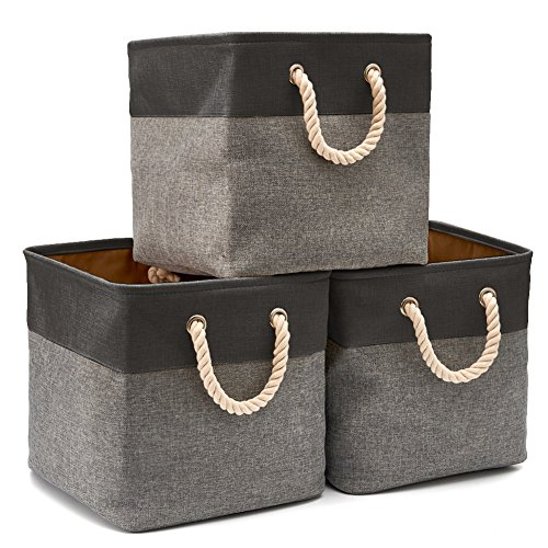 EZOWare 3-Pack Collapsible Storage Bins Basket Foldable Canvas Fabric Tweed Storage Cubes Set with Handles for Babies Nursery Toys Organizer (13 x 13 x 13 inches) (Black/Gray) ()