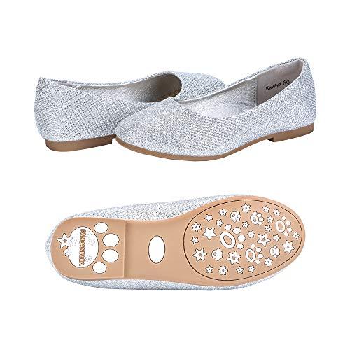 PANDANINJIA Toddler/Little Kids Katelyn Slip on Glitter Silver Ballet Flower Mary Jane Girls Flats Dress Shoes
