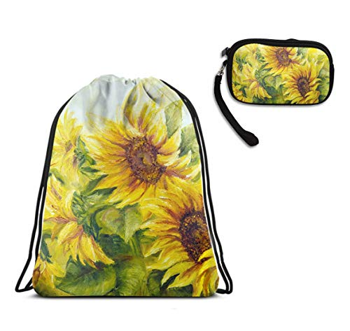 Sunflower Painting Drawstring Sack Travel Sport Rucksack, Water Resistant Cinch Sackpack Large Backpack With Slim Minimalist Wallet Make Up Bag For Shopping Party -