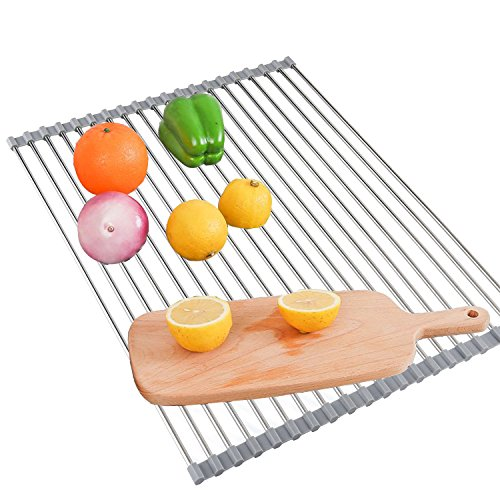 "Roll Up Dish Drying Rack - FITVC 18"" x 16"" Foldable Stainles"