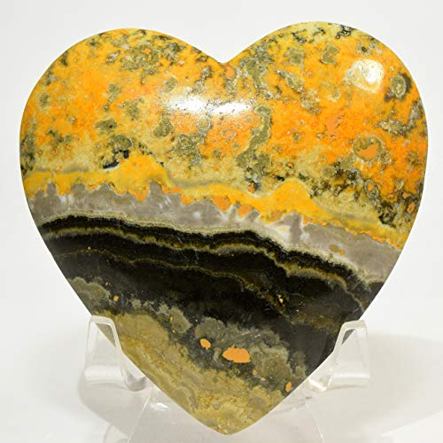 80mm Banded Bumble Bee Jasper Puffy Heart Yellow Black Silver Sparkling Crystal Natural Mineral Polished Love Gemstone Heart - Indonesia + Acrylic Display - Heart Puffy Large