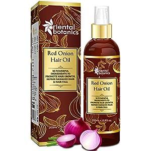 Oriental Botanics Red Onion Hair Oil, 200ml – With 30 Oils & Extracts, Argan Oil, Castor, Bhringraj, Almond Oil (No…