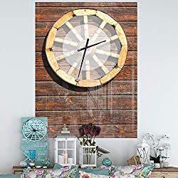 Design Art Designart 'Antique Wagon Wheel' Oversized Farmhouse Wall Clock 30 in. Wide x 40 in. high
