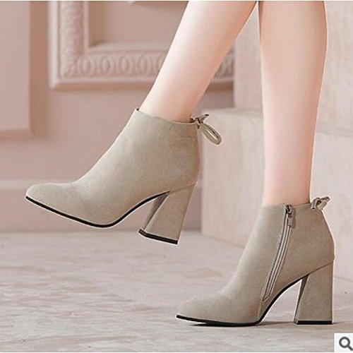 for ZHZNVX HSXZ Ankle Brown Fall Heel Closed Wine Chunky Comfort Wine Walking PU Women's Booties Boots Almond Casual Boots Shoes Shoes Black Spring Toe qpAFqr