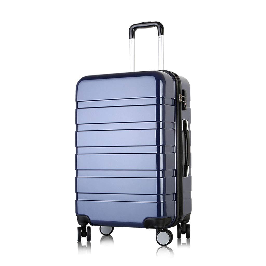 スーパー軽量スーツケース腹筋ハードシェル4ホイールキャリートラベルトロリーハンドキャビン荷物トラベルスーツケース、ディープブルー 35*25*58cm  B07MMBL239