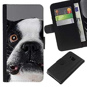 eJoy---La carpeta del tirón la caja de cuero de alta calidad de la PU Caso protector - HTC One M7 - --Boston Terrier Goofy Dog Canine