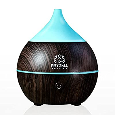 Pryzma Essentials Cool Mist Ultrasonic Aromatherapy Essential Oil Diffuser With 4.0 Bluetooth Speaker and 7 Color Changing LED Light, Wood Grain with Waterless Auto Shut-off Humidifier.