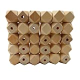 Product review for Laymily 100pcs Natural 20mm Geometric Hexagonal Beads Unfinished Wooden Beads Faceted Cube For Necklace Bracelet DIY Art & Craft Accessories Jewelry Supply&Wood Crafts