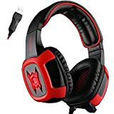 SADES SA906 7.1 USB Surround Sound Stereo Over-the-Ear Gaming Headsets with Microphone Vibration LED Light for PC gamers (Red-Black) Review