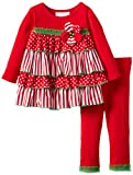 Bonnie Baby Baby Girls' Dot and Stripe Tiered Ruffle Legging Set, Red, 24 Months