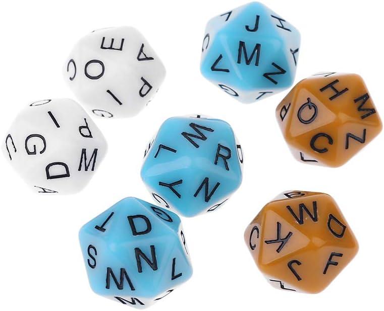 Exing 6 PCS Dados 20 Caras,Alfabeto Inglés Letras Diales Accesorios Juegos De Mesa para Niños Juguetes Educativos