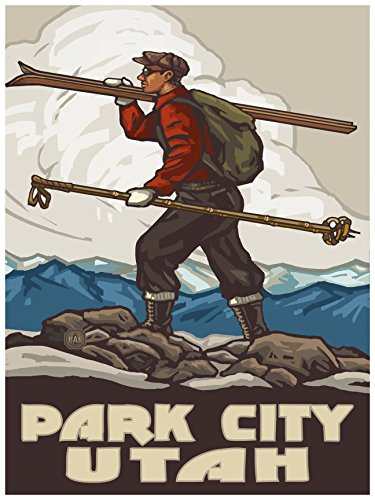 Park City Utah Skier Carrying Skis Travel Art Print Poster by Paul A. Lanquist (18