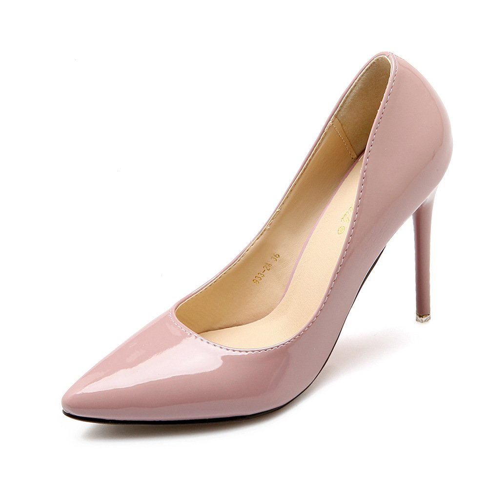 Tip of the light of the high-heel shoes women shoes pointed high heels sexy fine with the bare skin color (paint) 35 by YLSZ-High heels (Image #1)