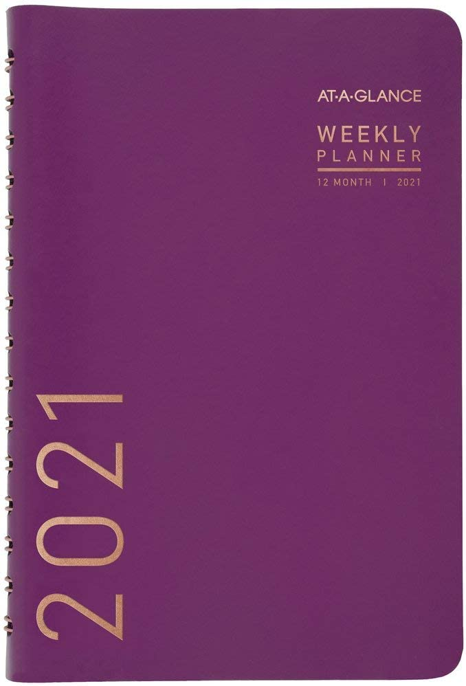 Premium 5-1//2 x 8-1//2 AT-A-GLANCE Weekly // Monthly Planner // Appointment Book 2017 Purple 584-200