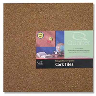 "Quartet Cork Tiles, 12"" x 12"", Corkboard, Mini Wall Bulletin Boards, Natural"