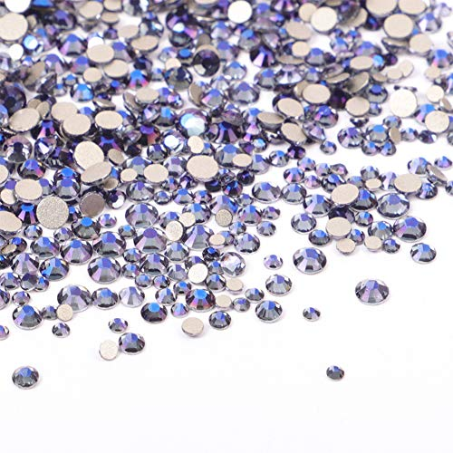 3456 Pieces Nail Crystals AB Nail Art Rhinestones Round Beads Flatback Glass Charms Gems Stones, 6 Sizes for Nails Decoration Makeup Clothes Shoes (Mixed SS4 5 6 8 10 12, Crystal Purple) ()