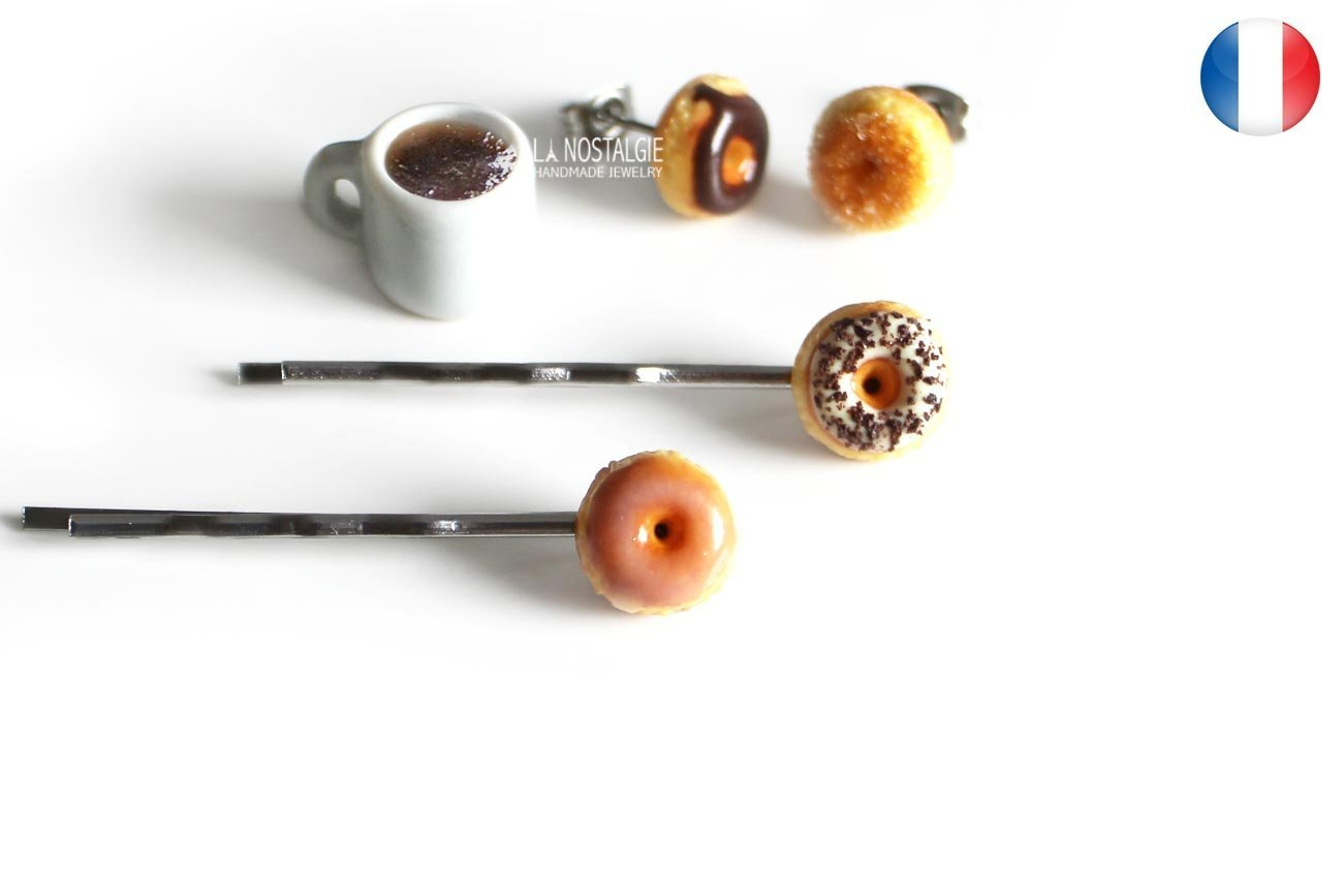 Donut Hair Pins Doughnut Accessories Women Hair Clips Silver