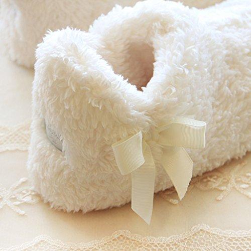 Fortuning's JDS Donne delle signore delle ragazze Accogliente Corallo cachemire Casa Bianca Calzature arco confortevole avvolgere pantofole