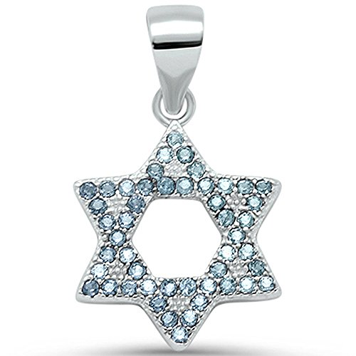 Charm David Elegant Of Star (Oxford Diamond Co Micro Pave CZ Star of David .925 Sterling Silver Pendant Charm Colors Available (Simulated Aquamarine))