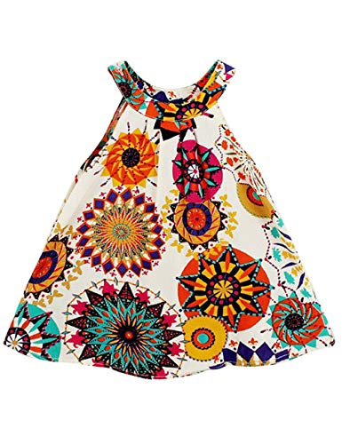 Baby Girl Clothes Bohemian Short Sleeveless Flower Princess Floral Dresses A-line Formal Kids Summer Dress Skirt(size130/5-6T) Metallic]()