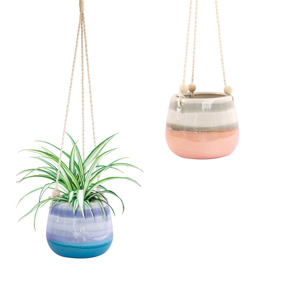 Ceramic Hanging Planter Blue Succulent Pots Round Plant Holder Container Cactus Pot with Cotton Rope Hanger Indoor Outdoor Decor 23 Bees 1 Pack x Blue Horizon