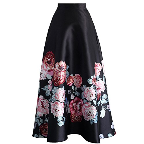 SUBWELL Women's Floral Print Colorblock High Waisted A-Line Long Maxi Skirt Dresses by SUBWELL (Image #1)