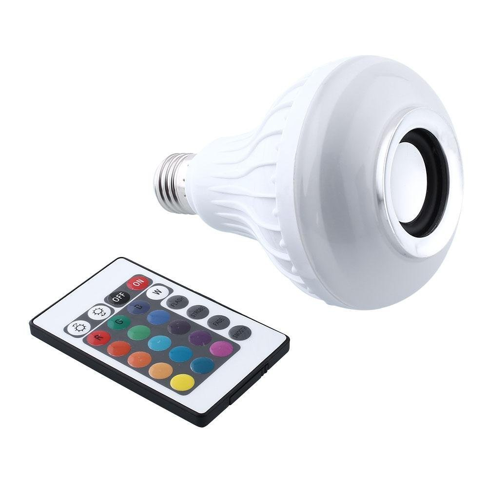BFF Products Bluetooth Speaker Light Bulb Smart LED RGB Color Changing Remote