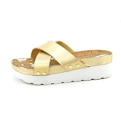 5b3a3c57edb Juicy Couture Metallic Crisscross Platform Sandals - Gold - Size 7.5 Gold  Size  7.5 B