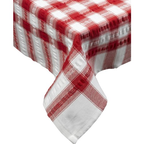 (Seersucker Oblong Checked Tablecloth 50'' x 90'' Cotton Check Table Linen (Red) New)