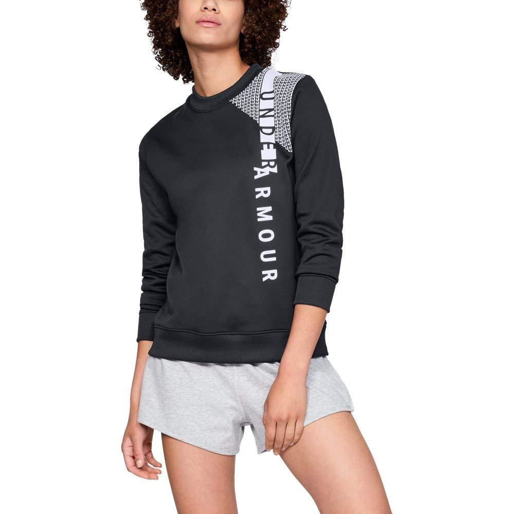Under Armour Women's Synthetic Fleece Crew Word Mark, Black (001)/White, X-Small
