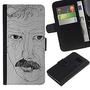 All Phone Most Case / Oferta Especial Cáscara Funda de cuero Monedero Cubierta de proteccion Caso / Wallet Case for Samsung Galaxy S6 // retratista dibujo bigote arte