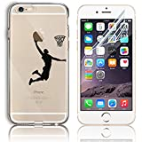Sunroyal Transparent iPhone 5 5S SE Soft Case with Tempered Glass Screen Protector - Flexible Slim Thin Anti-Scratch & Fingerprint Shock Proof Silicone Gel Hybrid Cover Skin - Playing Basketball